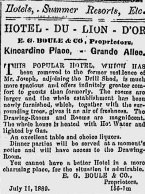 Publicité de l'Hôtel du Lion d'or peu après son ouverture (Hotel du Lion d'or, The Quebec Daily Telegraph, vol. XIV, no 158 (15 juillet 1889), p. 2, tiré de news.google.com/newspapers)